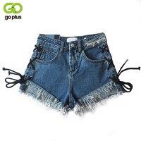 GOPLUS Sexy Side Lace Up Denim Shorts Women Tassel Blue Short Jeans Summer 2018 Casual Streetwear