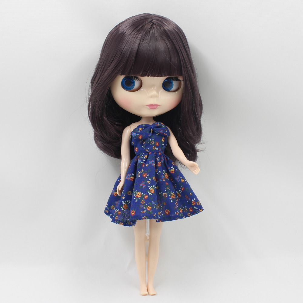 Free shipping icy factory blyth doll bjd neo dark purplr hair BL9219 with fringes/bangs normal body 30cm 1/6 gift souvenir free shipping factory blyth doll icy orange hair with bangs fringes joint body 230bl0145 bjd neo 1 6 30cm