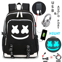 Dj marshmallow backpacks USB charging backpack for teenager students school bag luminous travel portable Rucksack men backpack