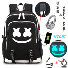 Dj marshmallow backpacks USB charging backpack for teenager students school bag luminous travel portable Rucksack men