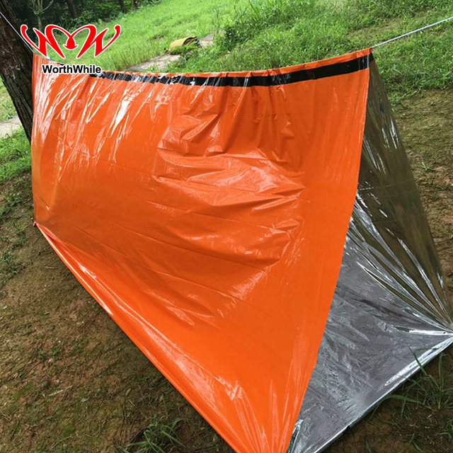 WorthWhile Emergency Blanket Tent Outdoor Camping Hiking Heat Preservation Shelter Ultralight Reflective Survival Kits