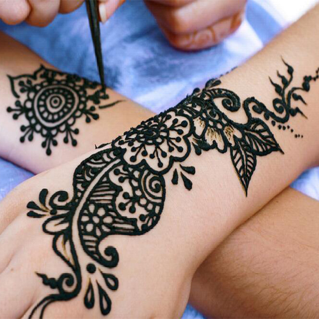 12 Pcs/ Set Henna Tattoo Stickers Temporary Tattoos Long Lasting ...