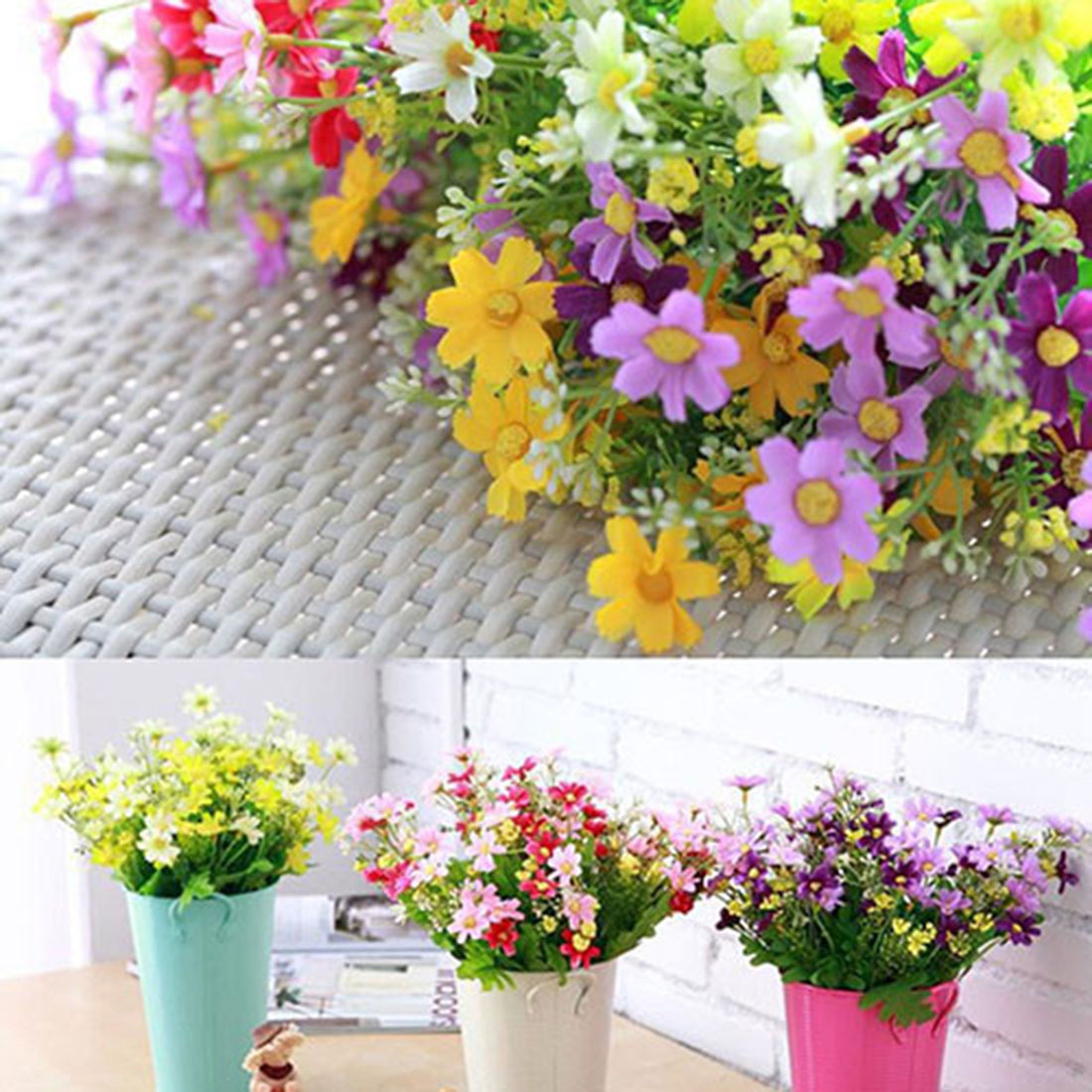 Cute silk daisy artificial decorative flower one bouquet 7 branch 28 silk artificial flowers for wedding home decoration 28 heads fake daisy cheap china real touch flower izmirmasajfo Images