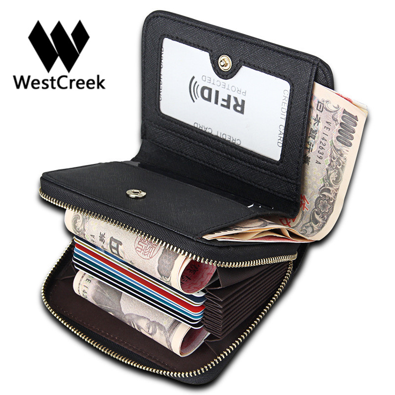 Westcreek Brand Genuine Leather Women Organizer Zipper Credit Card Holder Anti Theft Men RFID Travel Wallets Business Card Case westcreek brand men women genuine leather rfid zipper credit card holder passport travel wallet coin purse business cards holder