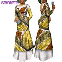 Autumn Clothes African dresses for Women Batik Wax Print Long Sleeve Party Dress Lady Backless Evening Dress Maxi Dress WY2497