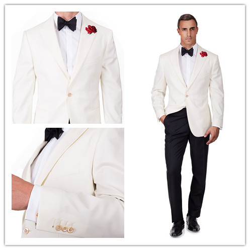 New arriving White one button jacket with black pants 2pcs wedding ...