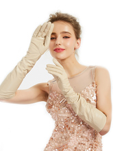 women elbow long real sheep leather soft elegant gloves beige