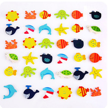 12pcs/lot Magnet Fridge Stickers Wooden Refrigerator  Animal Cartoon Colorful Kids Toys for Children Baby Educational