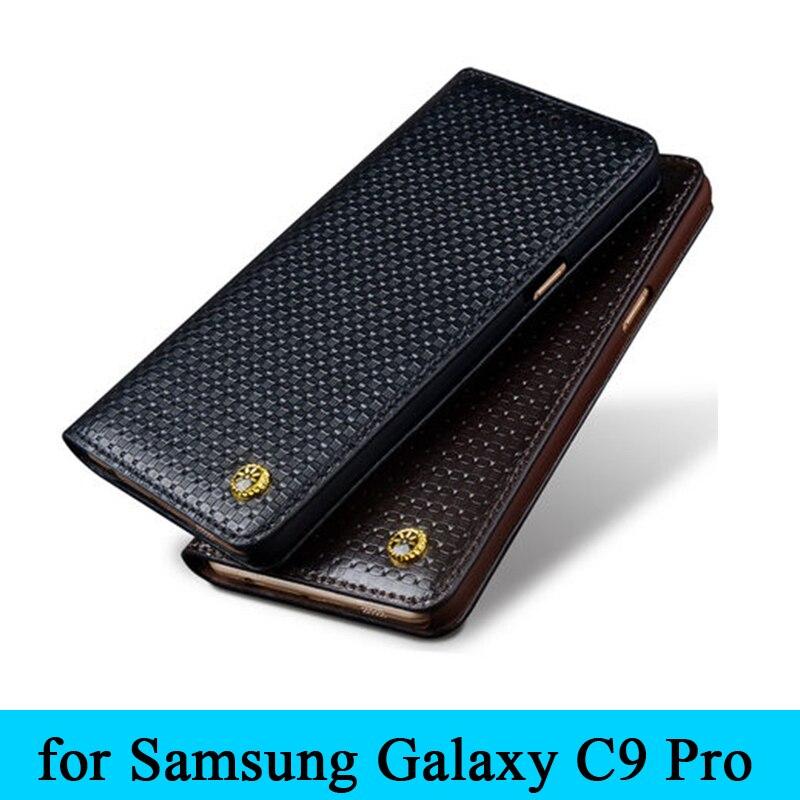 """imágenes para Nueva Llegada Caja de Lujo 100% Cuero Genuino Real C9000 Teléfono Cubierta Protector de la Bolsa Del Tirón de La Piel para Samsung Galaxy C9 Pro 6.0"""""""