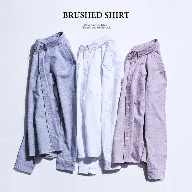 SIMWOOD Brand Men Shirts New 2019 Fashion Long Sleeve 100% Pure Cotton Blouse Slim Fit Plus Size Brushed Oxford Shirt  180569