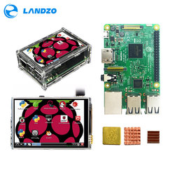 Raspberry Pi 3 Modelo B, placa + 3,5 TFT frambuesa Pi3 LCD de pantalla táctil de la pantalla + caso de acrílico + disipadores de calor para frambuesa Pi 3 Kit