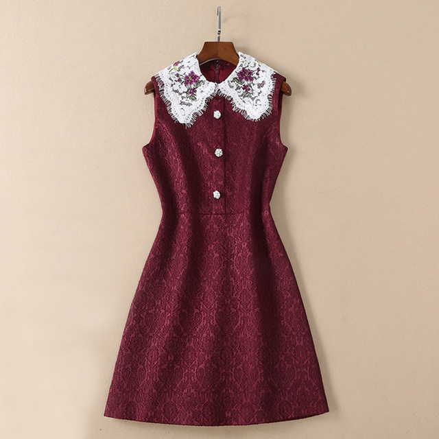 97a474284 Bordados de flores gola de renda branca frente botões mangas uma linha vestido  curto vinho tinto