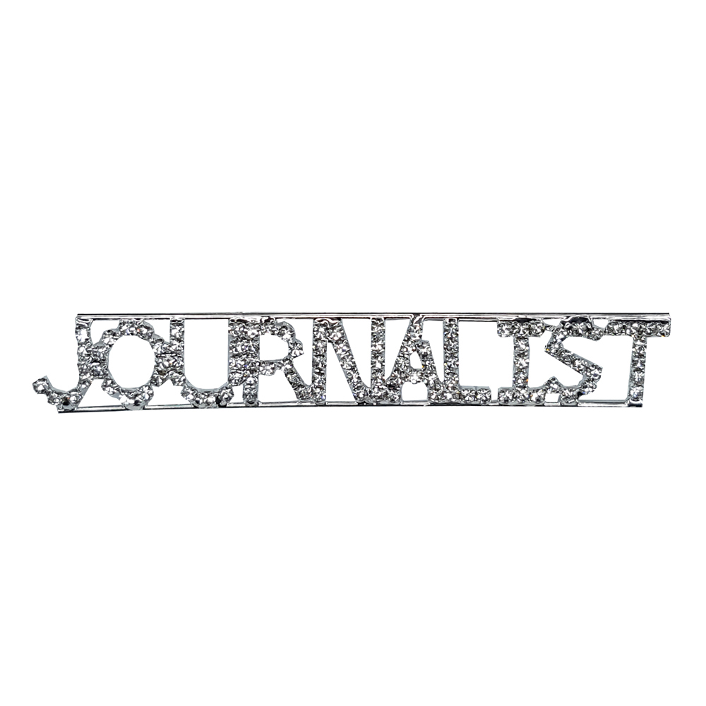 Custom Professions&Jobs Theme Crystal Lapel Pin JOURNALIST Word Brooch Gift Wholesale 6PCS/LOT FREE SHIPPING