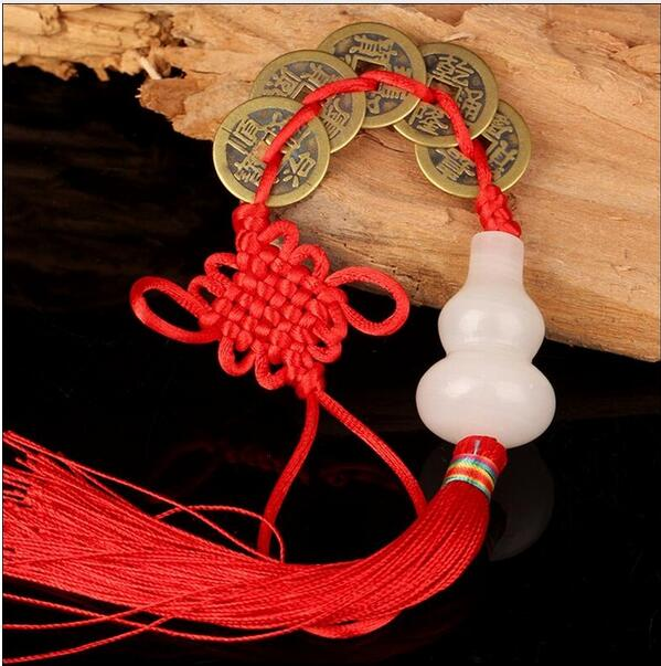 Gourd Five Emperors Money Hanging Copper Money Safety Button