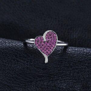 Image 2 - Bijoux palace coeur 0.3ct créé rubis pavé bague 925 en argent Sterling coeur amour bague de fiançailles nouveauté spécial pour les femmes