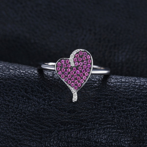 Image 2 - JewelryPalace kalp 0.3ct oluşturulan yakut taşlı yüzük 925 ayar gümüş kalp aşk nişan yüzüğü yeni varış özel kadınlar için