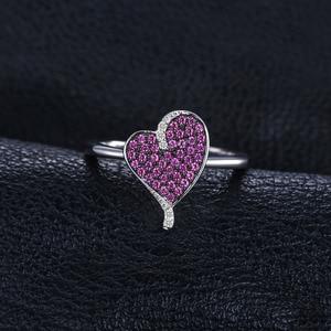 Image 2 - Jewelrypalace coração 0.3ct criado rubi pavimentar anel 925 prata esterlina coração amor anel de noivado nova chegada speical para mulher