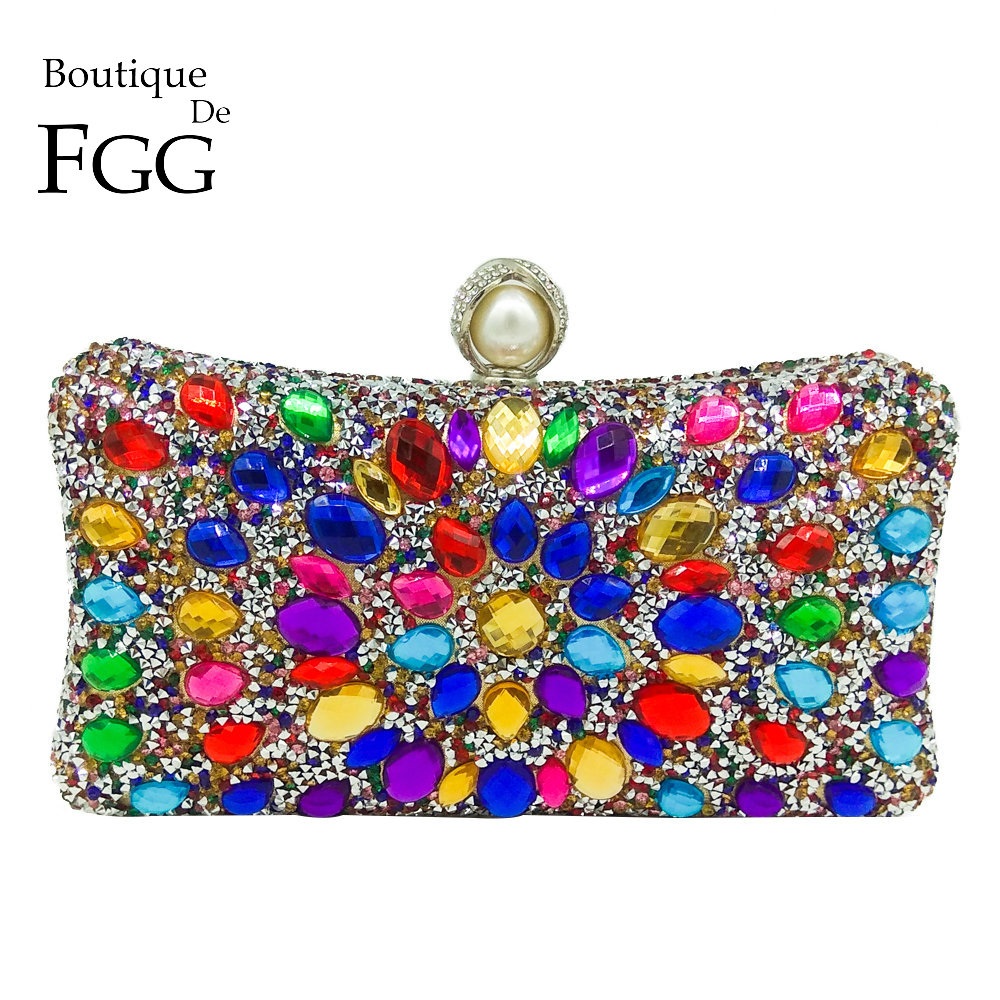 Boutique De FGG Multi Color Crystal Women Pearl Beaded Black Evening Metal Clutches Bag Wedding Party Prom Bridal Handbag Purse