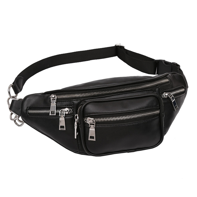 22c29e0b585 Fashion 2018 Women's Crossbody Waist Bag Ladies PU Leather Chain Belt Bag  High Quality Waist Bags Female Fanny Pack