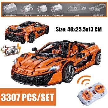 Baru Motor Listrik Fungsi MOC-16915 P1 Orange Super Balap Mobil Sesuai Legoings TECHNIC Bangunan Kota Blok Batu Bata Mainan DIY Hadiah anak