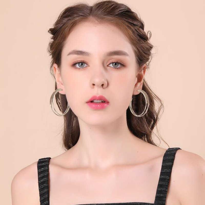หญิงหรูหรา Inlay Zircon ต่างหูวงกลมประกายคริสตัล Cubic Zircon ต่างหูสำหรับผู้หญิงงานแต่งงานเครื่องประดับ Brincos ของขวัญ