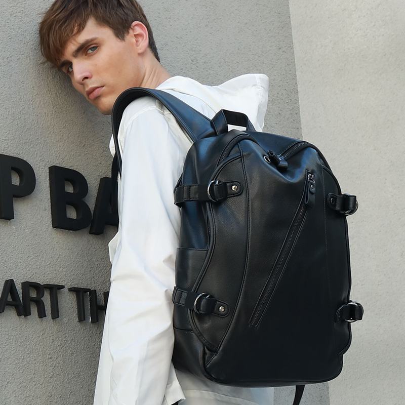 LIELANG Men Backpacks Leather Waterproof Bags 15 6 Inch Laptop Backpack External USB Charge Computer Bag