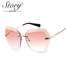 STORY Rimless Sunglasses Women Point Cut Design Luxury Channeles Brand Ladies Pink Sunglass UV400 Oversized Sun Glasses