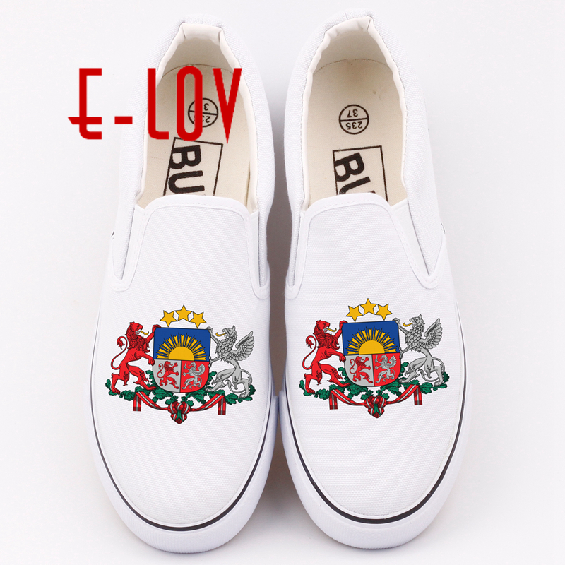 E-LOV New Design Latvia Country National Emblem Canvas Shoes Printed Latvians Casual Loafers Free Shipping e lov women casual walking shoes graffiti aries horoscope canvas shoe low top flat oxford shoes for couples lovers