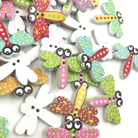 100 pcs Mix Butterfly 2 holes Buttons Kid' Baby Sewing Craft WB354
