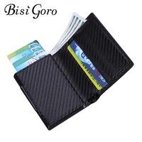 Кошелек с защитой от кражи BISI GORO, умный деловой кошелек с металлическим отделением для кредитных карт с RFID-защитой, 7 цветов