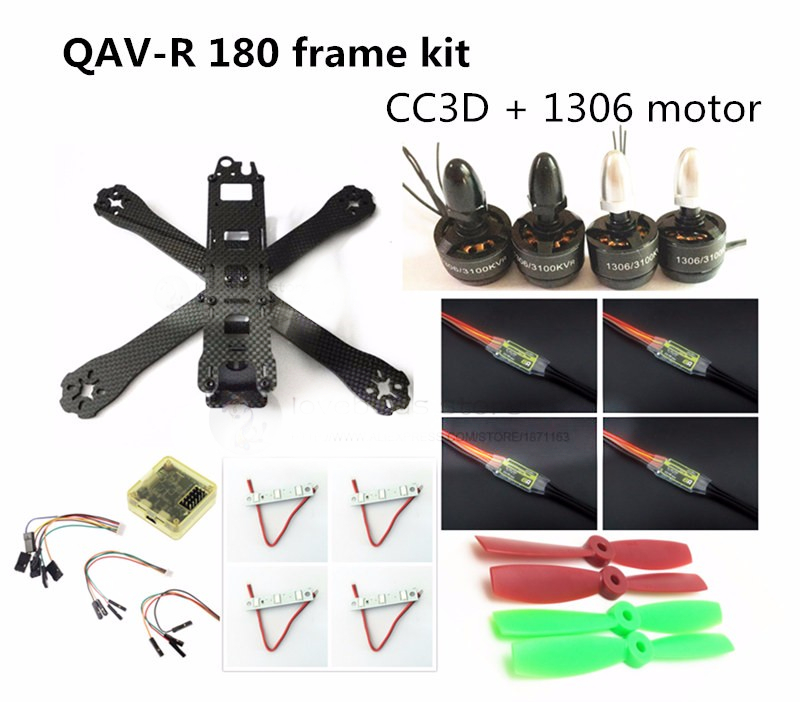 DIY FPV mini drone QAV-R 180 quadcopter pure carbon frame kit frame + 1306 3100KV motor + dragonfly 6A ESC 2-4S + CC3D / NAZE32 carbon fiber diy mini drone 220mm quadcopter frame for qav r 220 f3 flight controller lhi dx2205 2300kv motor