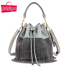 BVLRIGA Genuine Leather Bag Small Bucket Women Tote Bag Tassels Women Messenger Bags Famous Brand Designer Handbags High Quality