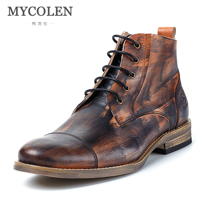 MYCOLEN Genuine Leather Men Boots Autumn Winter Ankle Boots Fashion Footwear Lace Up Shoes Men High Quality Vintage Men Shoes autumn winter men shoes vintage design fashion genuine leather ankle boots