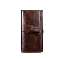Famous Brand Mens Business Genuine Leather Hand Clutch Bag Long Wallet 2 Fold Card Money Holder Drawstring Purse Male Clutch Bag