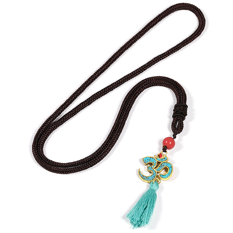 Antique Golden Pendent Necklace Ohm Hindu Buddhist Aum Om Necklace Pendant Hinduism Yoga Tassel Vintage Jewelry Women,l