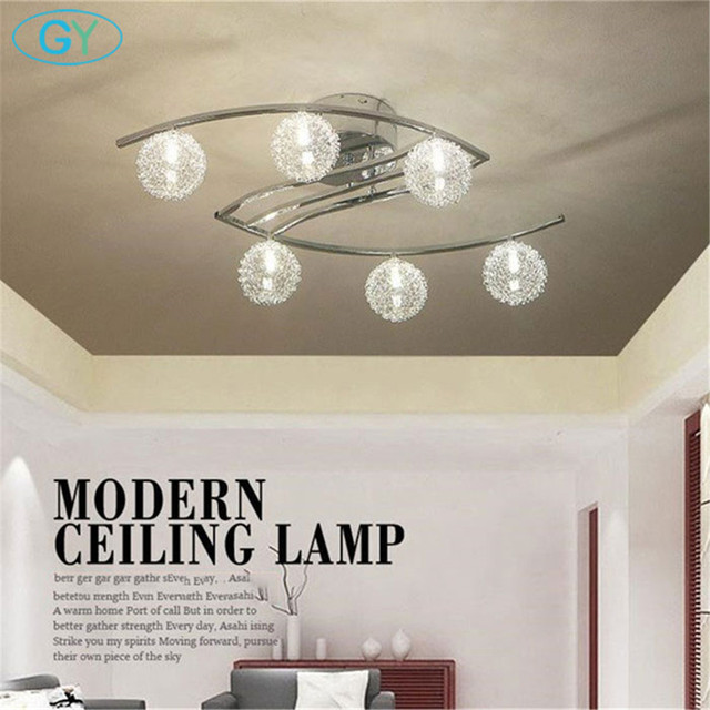 Modern Aluminum wire LED Ceiling light lustre clear ball glass abajur lampshade bedroom leds ceiling lighting chrome