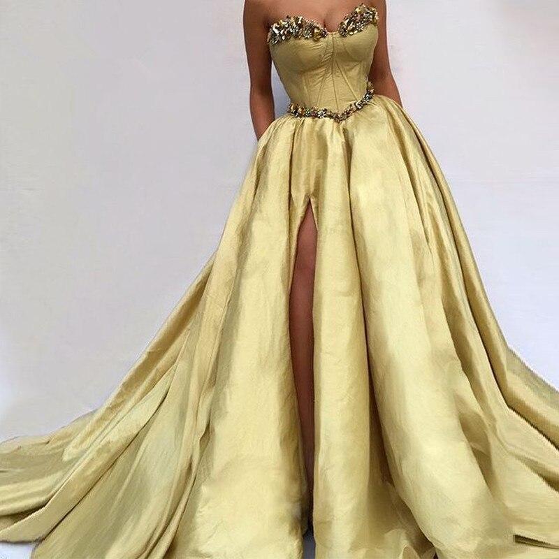 Formal Muslim Evening Dresses 2019 Mermaid Sweetheart Taffeta Crystals Slit Islamic Dubai Saudi Arabic Long Elegant Evening Gown