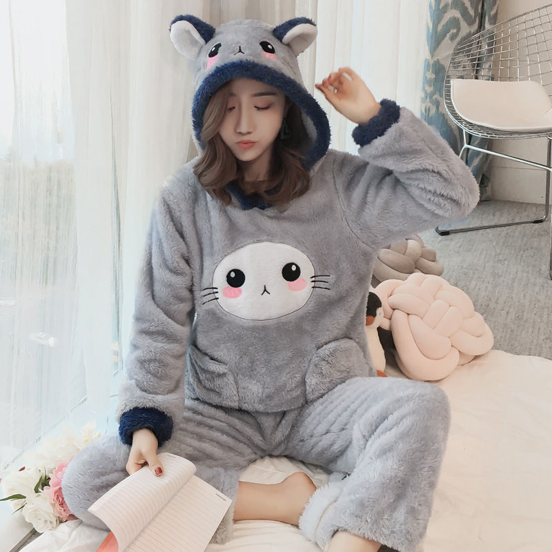 Winter Women Pajama Flannel Sleepwear Long Sleeves Hot Pajamas For Women Velvet Pajama Women Soft Clothing 79