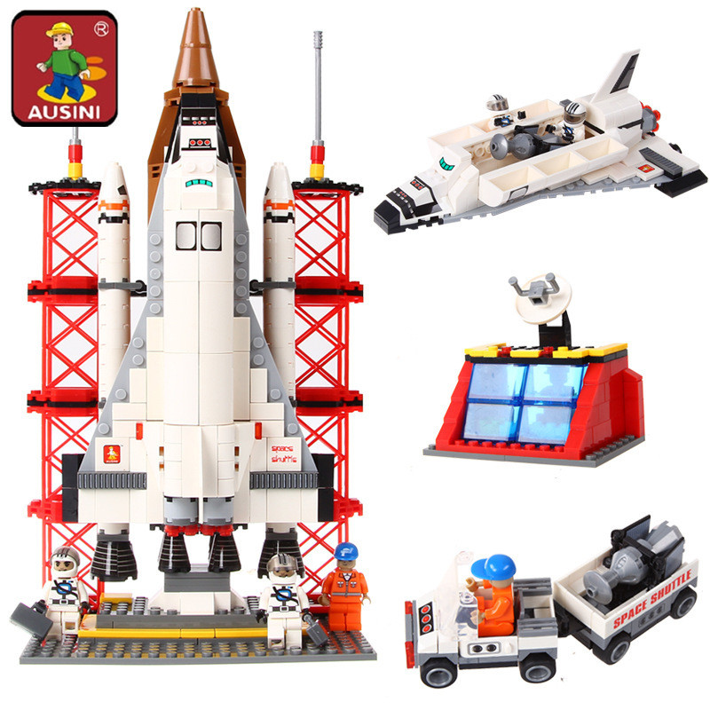 AUSINI 560Pcs Space Ship Shuttle Launching Base Model building blocks DIY Educational Creative Model Bricks Toys for children legoe compatible enlighten bricks space shuttle space war diy educational toys for children gifts building blocks diy kit 593pcs