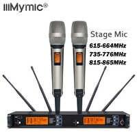 Neue ankunft!! Top Qualität SM 9000 4 Antenne für Bühne!! Dual Goldene Handheld Mic Professionelle Drahtlose Mikrofon System