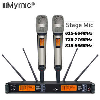 New arrival!! Top Quality SM 9000 4 Antenna for Stage !! Dual Golden Handheld Mic Professional Wireless Microphone System - DISCOUNT ITEM  9% OFF Consumer Electronics