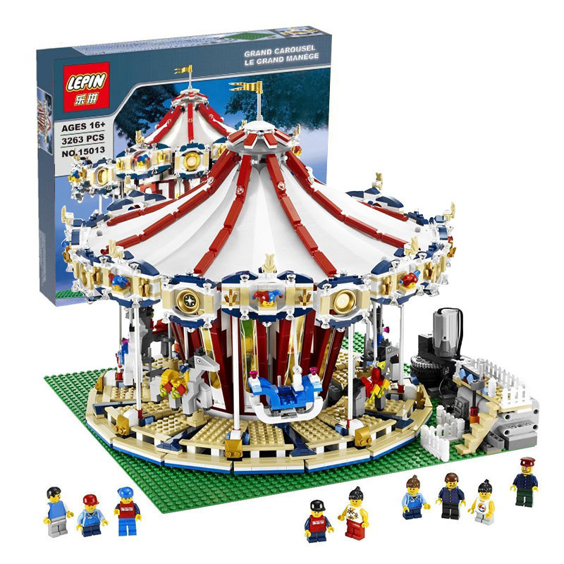 Lepin 15013A City Sreet series legoing creator Carousel Model Building Kits Blocks Toy Compatible 10196 Christmas Gift the new jjrc1001 lepin city construction series building blocks diy christmas gift for kid legoe city winter christmas hut toy
