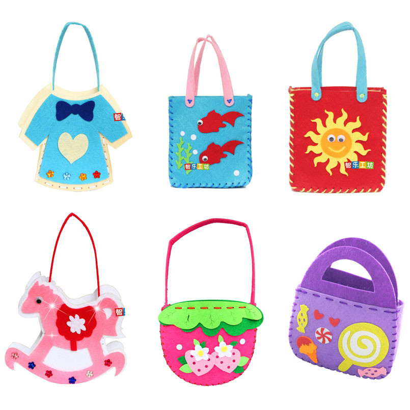 4Pcs/set Handmade Handbags Kids Non-woven Cloth Toy Children DIY Art Crafts Sewing Bag Educational Traning Kindergarten Toys