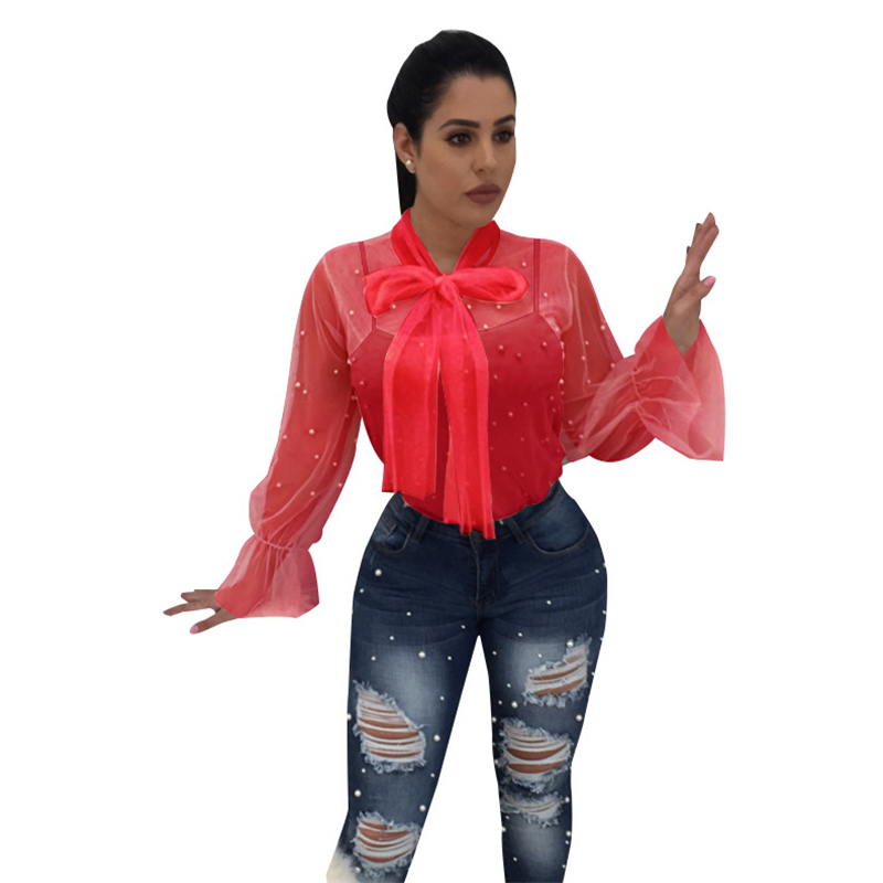 Women's Clothing Adogirl 2018 New Sheer Mesh Pearls Women Blouses Lace Up Bow Collar Lantern Long Sleeve Casual Tops Ladies Shirt Clubwear Blusas