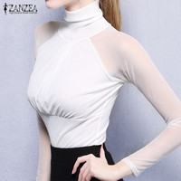 ZANZEA Women Tops 2017 Sexy See Through Mesh Long Sleeve Stretchy Blouses Vintage Shirts Casual Slim
