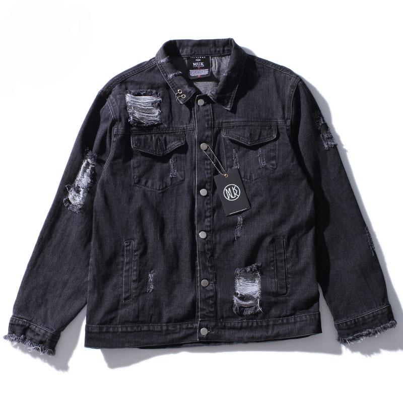 Black Ripped Denim Jacket Men Casual Fashion Painting Print Jackets