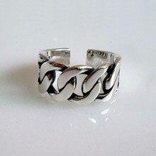 Plata de Ley 925 auténtica anillos de cuerda para hombres y mujeres anillo giratorio mate trenzado tipo cuerda trenzada estilo antiguo Retro