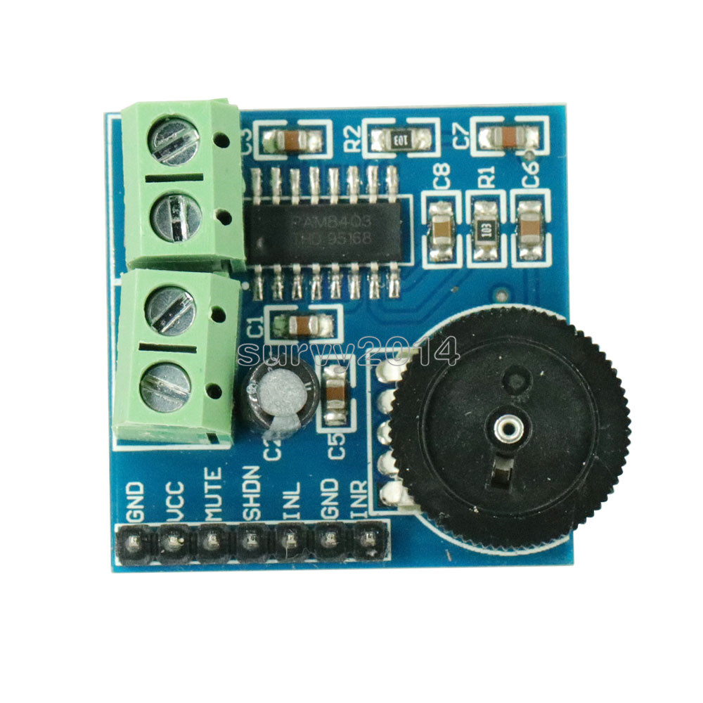 Mini PAM8403 3W Two 2 Channel Way Double Track Power Audio Amplifier Module Volume Adjustment Stereo Filterless 5V Control Board