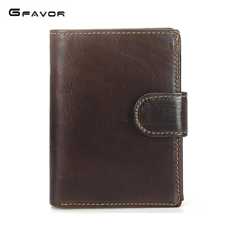 G-FAVOR Genuine Leather Men Wallets Luxury Brand Retro Hasp Short Purse Men with Coin Pocket Large Card Holders Clutch Wallet oreon