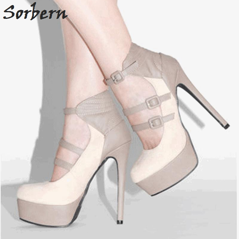 Sorbern Elegant Beige Women High Heel Shoes Platform Gladiator Style Pump Shoes Nude Pumps Diy Colors Ladies Dress Shoes New brand new summer black pink beige women nude pumps ladies elegant evening shoes stiletto high heel el23 plus big size 32 47 10